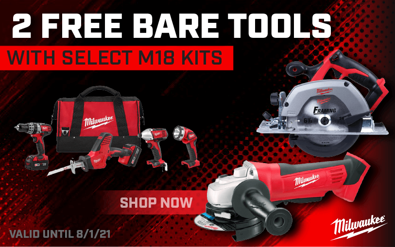 2 Free Bare Tools with a Milwaukee M18 kit