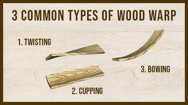 3 Common types of wood warping: Twisting, Cupping, and Bowing.
