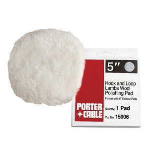 Porter-Cable 15006 5-Inch Hook and Loop Fine Lambs Wool Polishing Pad