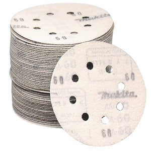 Makita 794518-8 60 Grit 5-In Hook and Loop 8-Hole Abrasive Disc 5-Pack