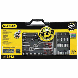 Stanley 96-011 170PC Chrome Vanadium Forged Mechanics Tool Set, 170pc