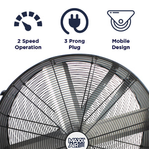 Maxx Air BF36DDPEBLK 36-Inch Maxx Air Pro Flex Corded Direct Drive Barrel Fan