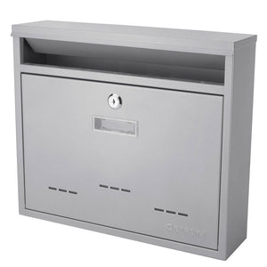 Barska CB13252 Locking Wall Solid Steel Mount Mailbox, Medium w/ Drop Slot Door