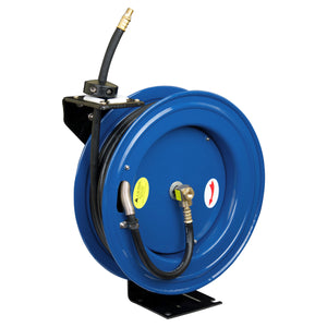 "Cyclone Pneumatic 1/2"" x 50' 300 PSI Retractable Air Hose Reel w/ Rubber Hose"