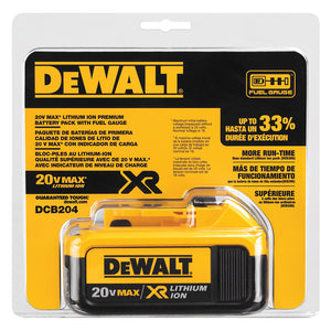 DeWALT 20V MAX* Premium XR Lithium Ion Battery Pack - DCB204