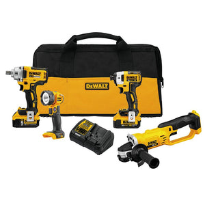 DeWALT DCK498P2 20 Volt 4-Tool 5.0Ah Cordless Drivers and Grinder Combo Kit