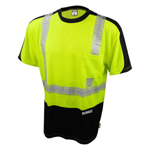 DEWALT DST11B-2PGB-5X Mens High Visibility Green/Black Short Sleeve Class 2 5-XL