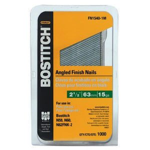 "Bostitch FN1540-1M 2-1/2"" 15 Gauge FN Style Angled Finish Nails, (1,000-Pack)"