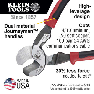 Klein J63225N Journeyman High Leverage Cable Cutter Tool w/ Stripping