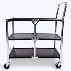 Luxor MSCC-3 33-3/4 x 19-1/2 Inch 3-Shelf Chrome Plated Collapsible Metal Cart