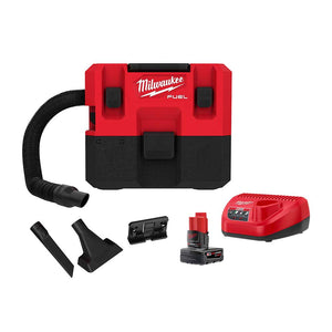 Milwaukee 0960-21 M12 FUEL 1.6 Gallon Cordless Compact Quiet Wet/Dry Vacuum Kit
