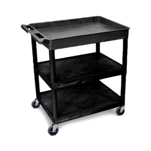 Luxor TC122C-B 3-Shelf Black Large Tub/Flat Mobile Utility Cart w/ Cabinet