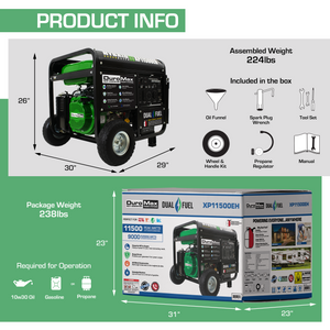 DuroMax XP11500EH 11500 Watt Electric Start Dual Fuel Portable Hybrid Generator