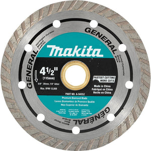 Makita A-94552 4-1/2-Inch 5/8-Inch (20mm) Arbor Turbo Rim Diamond Masonry Blade