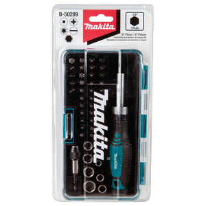 Makita B-50289 Durable Multi Assorted Fastening Ratchet and Bit Set - 47pc