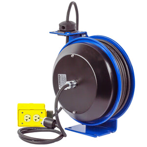 Coxreels PC13-5012-B 50-Foot Quad Receptacle Spring Rewind Reel w/ Power Cord