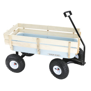 Shop Fox D3244 32-Inch x 14-Inch Pneumatic Wheel Heavy-Duty Wooden Wagon