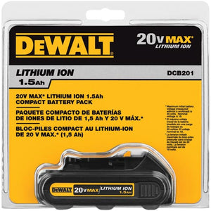 DeWALT DCB201 20V MAX Lithium Ion Cordless Compact 1.5 Ah Battery Pack - 20 Volt