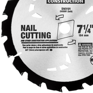 "DeWALT Series 20 7-1/4"" 18T Nail Cutting Circular Saw Blade - DW3191"