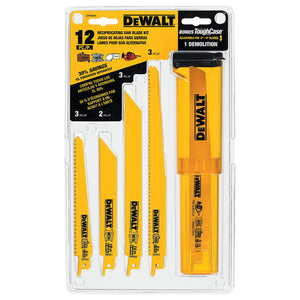 DeWALT DW4892 12 Piece Reciprocating Saw Blade Set With Case