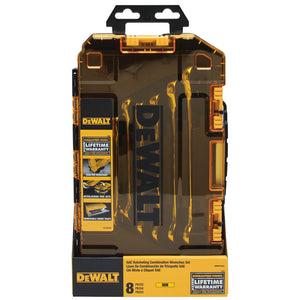DeWALT DWMT74734 Metric Full Polish Ratcheting Combination Wrench Set - 8pc