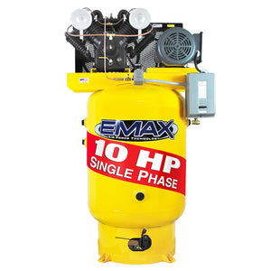 EMAX EP10V120V1 10 HP 1-Phase 120 gal.Vertical Industrial Air Compressor-With Pressure Lube Pump
