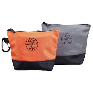 Klein 55470 Orange/Gray Durable Stand-Up Zipper Tool Storage Bags - 2pk