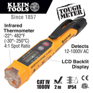 Klein NCVT4IR Durable Non-Contact Voltage Tester w/ Infrared Thermometer