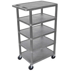 Luxor BC50-G 46-Inch Gray Durable Five Flat Shelf Rolling Storage Utility Cart