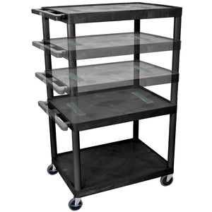 Luxor LELDUO-B 54-Inch Black Three Shelf Endura Audio and Video Cart