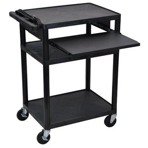 Luxor LP34LE-B 34-Inch 3-Shelf Black Endura Presentation Cart w/ Pull Out Shelf