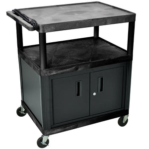 Luxor LP40CE-B  3-Shelf Black Endura Presentation Cart w/ 40-1/4-Inch Cabinet