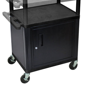 Luxor LPDUOCE-B Black Multi-Height Electric Endura Presentation Cart w/ Cabinet