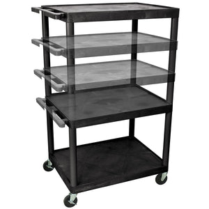Luxor LPLDUO-B 3-Shelf Black Multi-Height Rolling Utility Presentation Cart