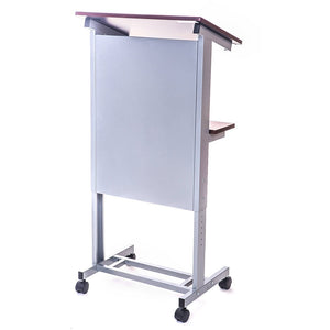 Luxor LX-ADJ-DW Adjustable Height Mobile Lectern Podium Presentation Station