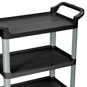 Luxor SC12-B 3-Shelf Black Multi-Purpose Mobile Rolling Serving Cart