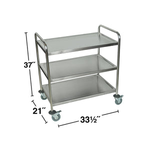 Luxor ST-3 37-Inch 3-Shelf Stainless Steel Multi-Purpose Mobile Rolling Cart