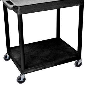 Luxor TC12-B 2-Shelf Black Large Tub/Flat Multi-Purpose Rolling Utility Cart