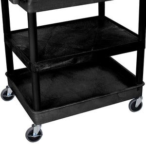 Luxor TC121-B 3-Shelf Black Large Tub/Flat Mobile Multi-Purpose Utility Cart