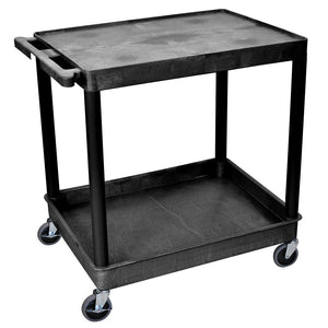 Luxor TC21-B 32 x 24-Inch 2-Shelf Black Large Tub Multi-Purpose Utility Cart