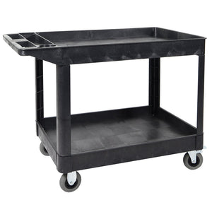 Luxor XLC11SP5-B 2-Shelf Heavy-Duty Multi-Purpose Utility Cart w/ SP5 Casters