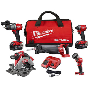 Milwaukee FUEL M18 2997-25 18-Volt 5-Tool Drill/Driver/Saws/Light Combo Kit