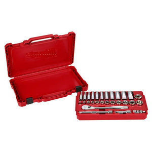 Milwaukee 48-22-9408 3/8-Inch Drive Durable SAE Ratchet and Socket Set- 28pc