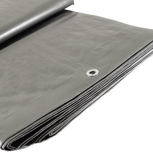Weather Guard S008016 8' x 16' Silver Heavy Duty U.V. Tarp, 7'-6'' x 15'-6''