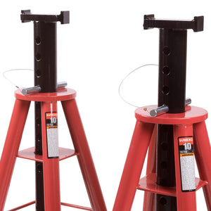 Sunex 1410 10-Ton Steel Base High Height Adjusting Pin Type Jack Stands - 2pk