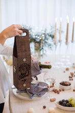 Load image into Gallery viewer, Wine Tote, Wine Bag, Wine Box, Wooden Wine Box, Wood Wine Box, Christmas Wine, Wine Bottle, Coworker Gift, Boss Gift, Gift for Boss