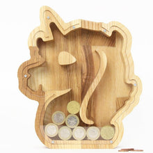 Load image into Gallery viewer, Piggy banks for girls Unicorn Money bank Wooden coin bank Custom piggy bank Money box