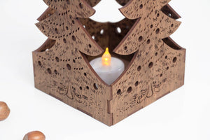 Christmas Candle Holder Best Friend Christmas Gift Wooden Candle Holder Christmas Centerpiece