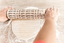 Load image into Gallery viewer, Rolling Pin, Engraved Rolling Pin, Embossed Rolling Pin, Wooden Rolling Pin, Wood Rolling Pin, Cookie Stamp, Christmas Cookies