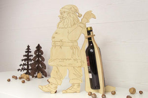 Santa - Santa Claus - Wine Holder Wood - Wine Rack Wood - Wine Holders Wooden - Wine Bottle Holder - New Year Gift - Wine Gifts Wood